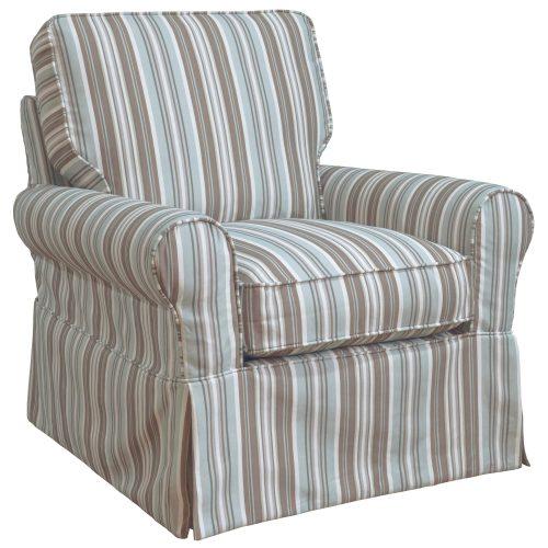 Horizon Slipcovered Box Cushion Swivel Rocking Chair - three-quarter view - Blue Striped - SU-114993-395225