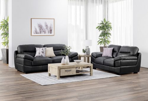 Jayson Loveseat and Sofa in Black - Lifestyle setting
