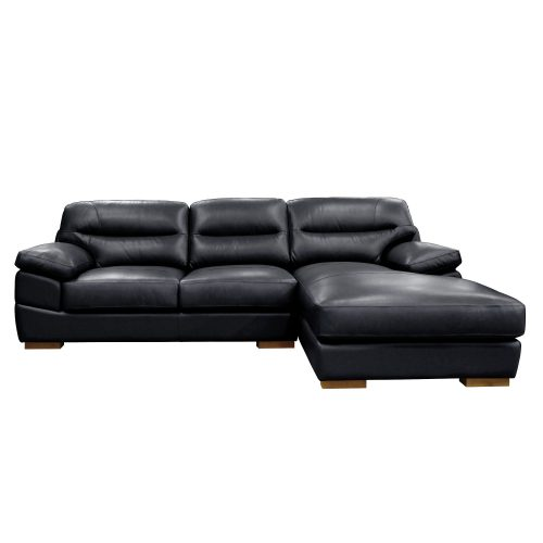 Jericho Right Facing Chaise Sofa in Black - Front view - SU-JH3780-2P