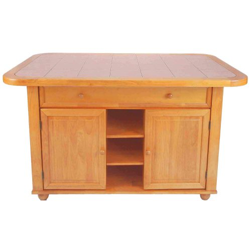 Kitchen Island - Light Oak finish with a Rose tile top - front view - CY-KITT02-LO