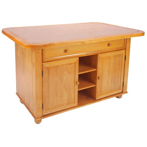 Kitchen Island - Light Oak finish with a Rose tile top - three-quarter view - CY-KITT02-LO