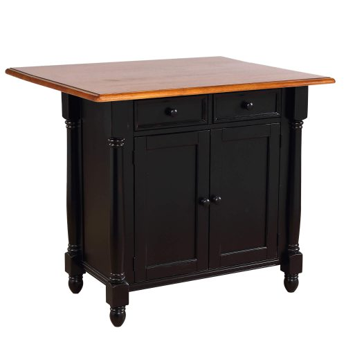 Kitchen Island with Drop Leaf - Antique Black and Cherry Top - three-quarter view with leaf up - DLU-KI-4222-BCH