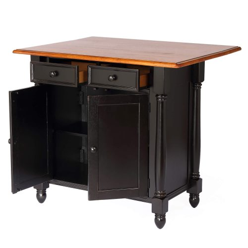 Kitchen Island with Drop Leaf - Antique Black and Cherry Top - thrree-quarter view leaf up and doors open - DLU-KI-4222-BCH