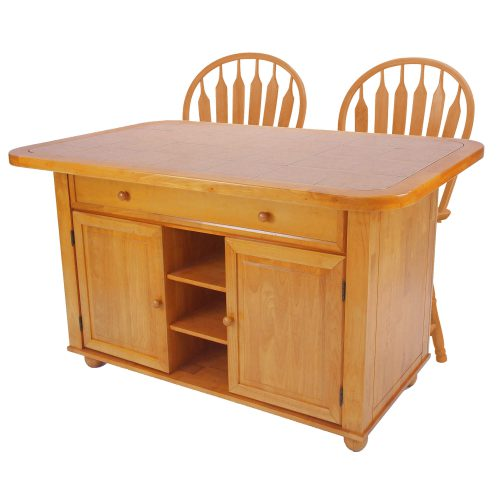 Kitchen Island with matching stools - Light Oak finish with a Rose tile top - three-quarter view - CY-KITT02-B24-LO3PC