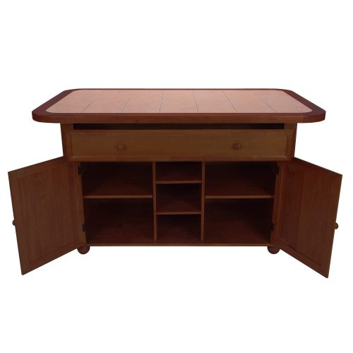 Kitchen island - Nutmeg finish and Terracotta rose time top - front view drawer and doors open - CY-KITT02-NUT