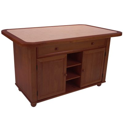 Kitchen island - Nutmeg finish and Terracotta rose time top - three-quarter view - CY-KITT02-NUT