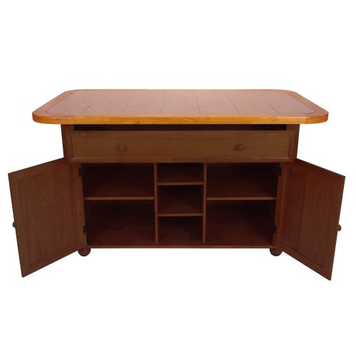 Kitchen island - Nutmeg finish with light oak trim and Terracotta rose time top - drawer and doors open showing storage - CY-KITT02-NLO