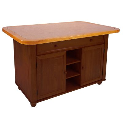 Kitchen island - Nutmeg finish with light oak trim and Terracotta rose time top - three-quarter view - CY-KITT02-NLO