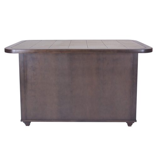 Kitchen island in Antique Gray finish with gray tile top - back view - CY-KITT02-AG