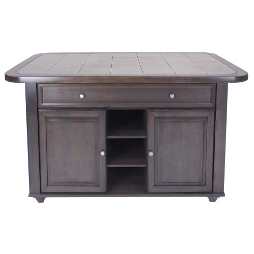 Kitchen island in Antique Gray finish with gray tile top - front view - CY-KITT02-AG