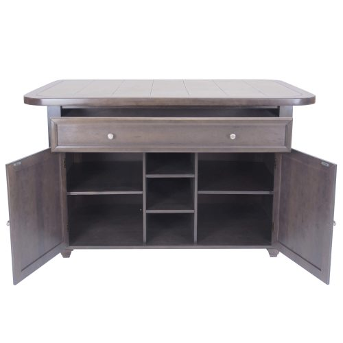 Kitchen island in Antique Gray finish with gray tile top - front view with drawer and doors open - CY-KITT02-AG