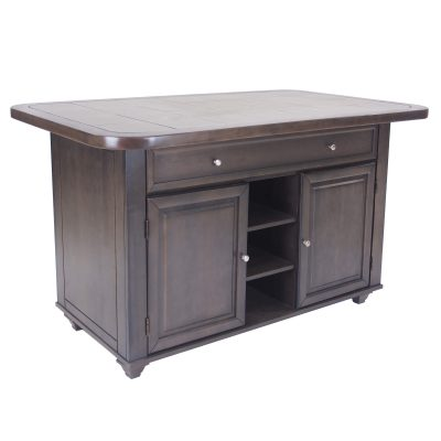 Kitchen island in Antique Gray finish with gray tile top - three-quarter view - CY-KITT02-AG