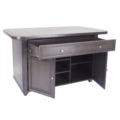Kitchen island in Antique Gray finish with gray tile top - three-quarter view with drawer and doors open - CY-KITT02-AG