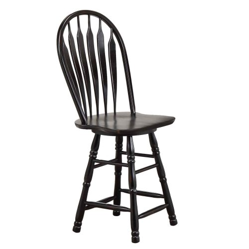 Kitchen island matching stool - Antique black finish - angled view - CY-KITT02-B24-AB3PC