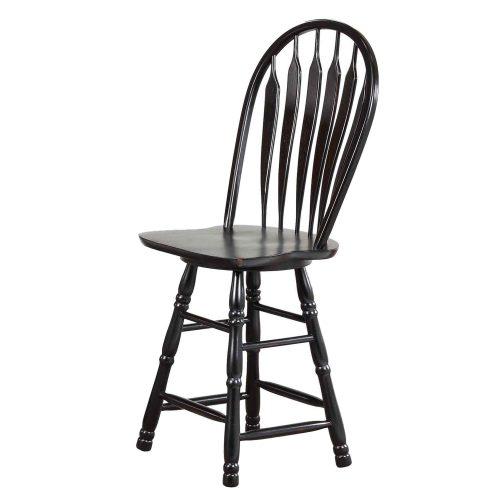 Kitchen island matching stool - Antique black finish - front view - CY-KITT02-B24-AB3PC