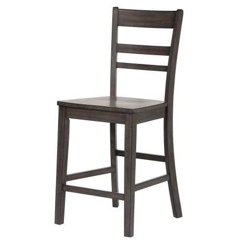 Kitchen island matching stool in Antique Gray finish - front view - CY-KITT02-B200-AG3PC