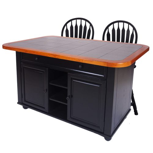 Kitchen island with matching stools - Antique black finish with gray tile top - three-quarter view - CY-KITT02-B24-AB3PC