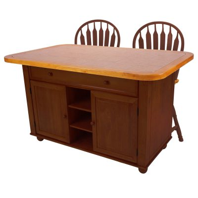 Kitchen island with matching stools - Nutmeg finish with light oak trim and Terracotta rose tile top - CY-KITT02-B24-NLO3PC