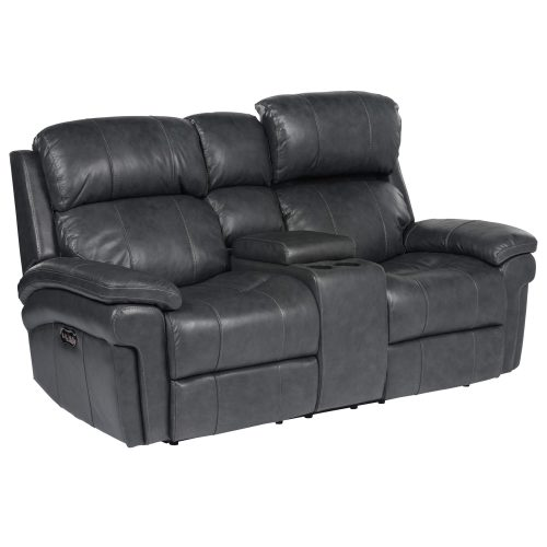 Luxe Collection - Reclining Loveseat - three-quarter view with power headrest up - SU-9102-94-1394-73