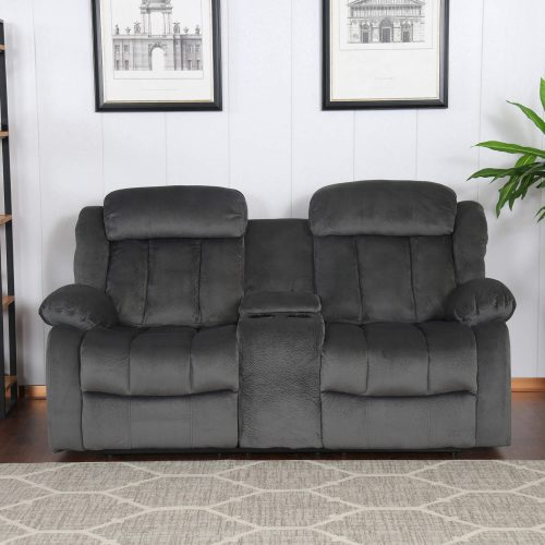Madison Collection - Reclining loveseat shown in Charcoal - living room setting - front view SU-ZY550-206
