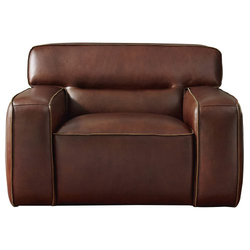 Milan Leather Collection - Armchair in brown - front view - SU-AX6816-C