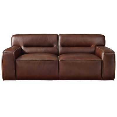 Milan Leather Loveseat - front view – Brown - SU-AX6816-L