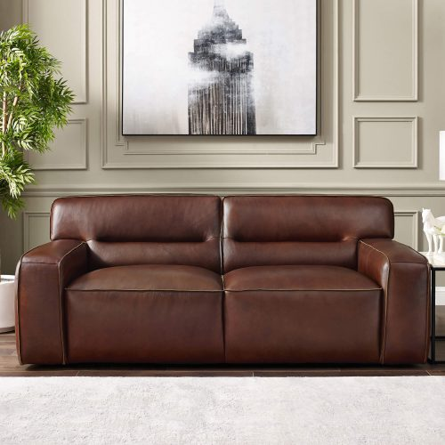 Milan Leather Loveseat - living room setting – Brown - SU-AX6816-L