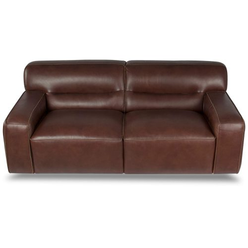 Milan Leather Loveseat - top view – Brown - SU-AX6816-L