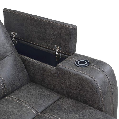 Power Reclining Chaise Lounge in Gray - arm compartment - SU-K1128045LS