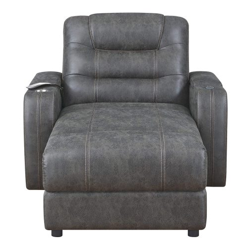 Power Reclining Chaise Lounge in Gray - front view - SU-K1128045LS