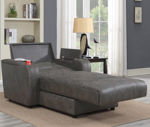 Power Reclining Chaise Lounge in Gray - living room setting sleep position - SU-K1128045LS