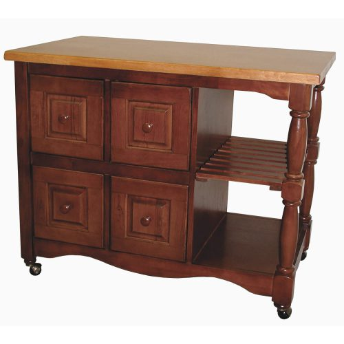 Regal Kitchen Cart on casters in nutmeg finish and light oak top - three-quarter view - DCY-CRT-03-NLO