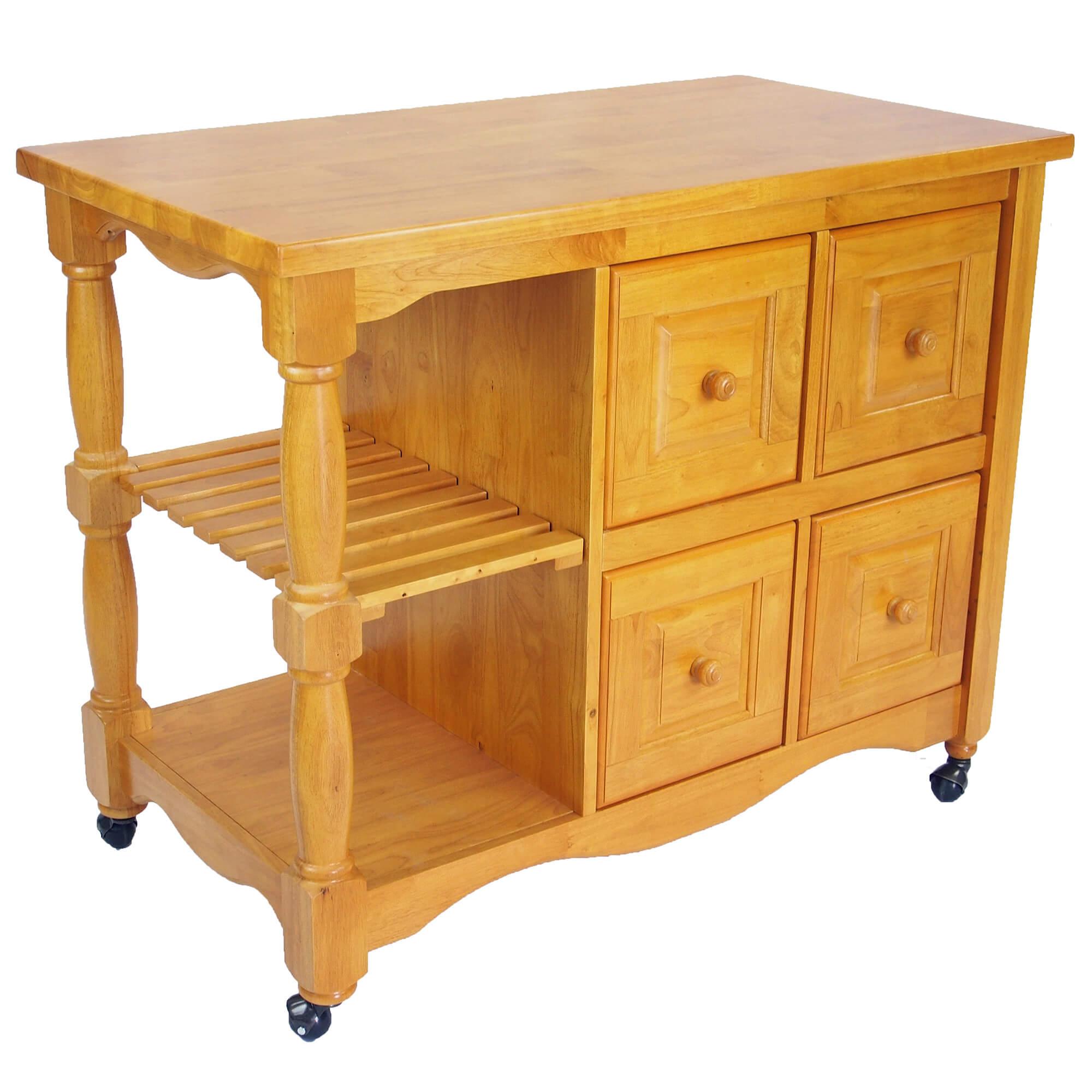 Regal Kitchen Cart Light Oak Finish Sunset Trading