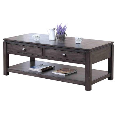 Shades of Gray Collection - Coffee table with drawers and shelf - angled view DLU-EL1608