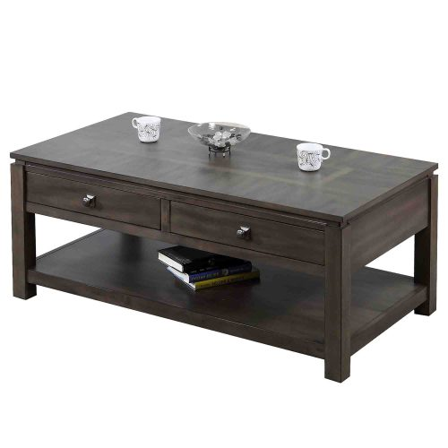 Shades of Gray Collection - Coffee table with drawers and shelf - three-quarter view DLU-EL1608