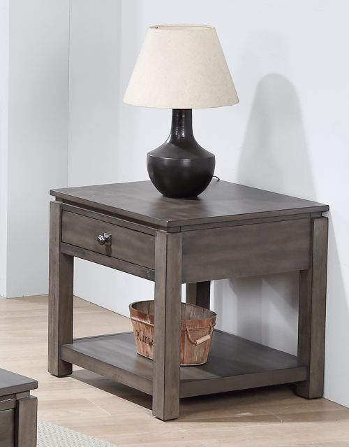 Shades of Gray Collection - End table with drawer and shelf - living room setting DLU-EL1602