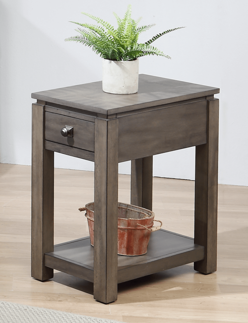 Shades of Gray Collection - Narrow End table with drawer and shelf - living room setting DLU-EL1603