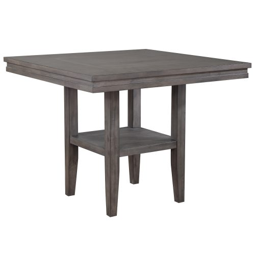 Shades of Gray Collection - Square pub table with shelf - three-quarter view DLU-EL4545C