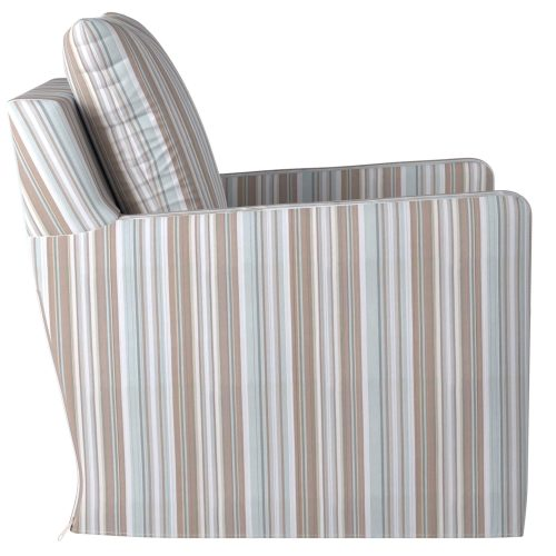 Slipcovered swivel chair with box cushion and track arm - side view in Seaside Blue Striped SU-159593-395225