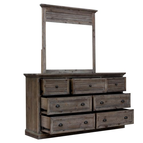 Solstice Gray Collection - Dresser with Bedroom Mirror - three-quarter view with drawers open - CF-3030_34-0441