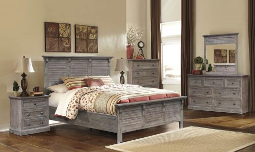 Solstice Gray Collection - Queen size bed frame - night table - dresser with mirror - chest - CF-3001