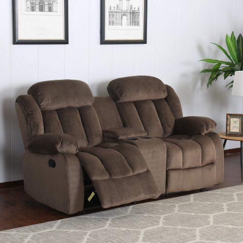 Teddy Bear Collection - Reclining loveseat - living room setting three-quarter view partial recline - SU-ZY660-206