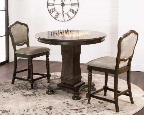 Vegas Collection - Game table and two chairs - chess table view - CR-87711-TCB-3P