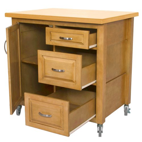Kitchen Cart with casters in light oak - drawers open - PK-CRT-04-LO