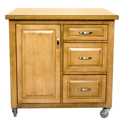 Kitchen Cart with casters in light oak - front view - PK-CRT-04-LO