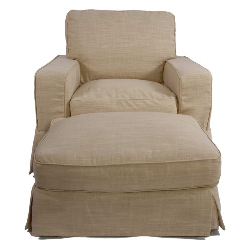 Americana Slipcover Collection - Chair and Ottoman front view SU-108520-30-466082