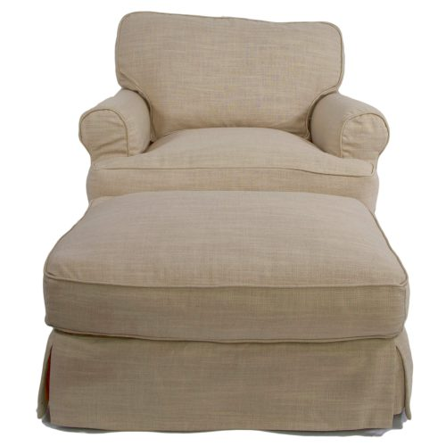 Horizon Slipcover Collection - Chair and Ottoman front view SU-117620-30-466082