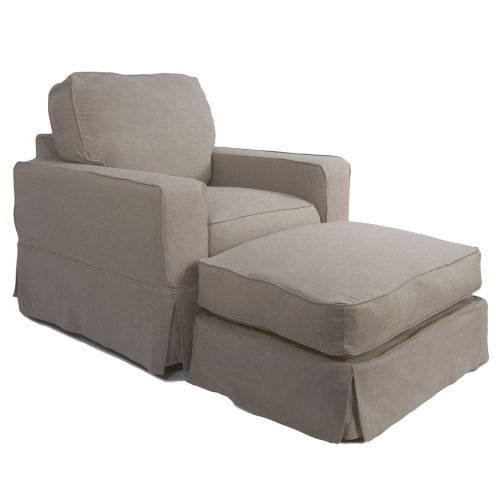 American Slipcover Collection - Chair and Ottoman three-quarter view SU-108520-30-220591