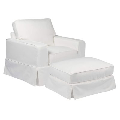 Americana Slipcover Collection - Chair and Ottoman three-quarter view SU-108520-30-391081