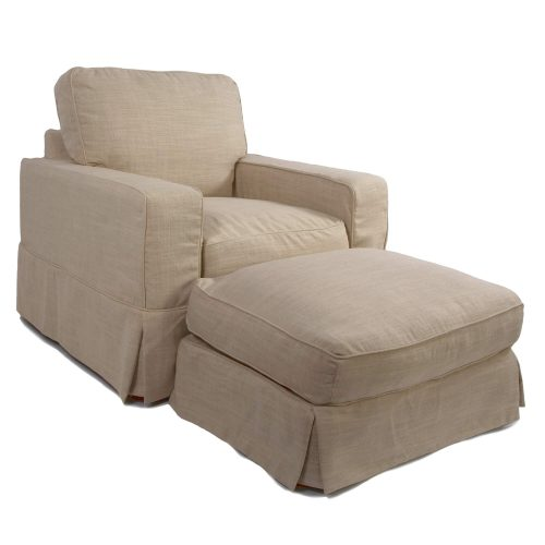 Americana Slipcover Collection - Chair and Ottoman three-quarter view SU-108520-30-466082